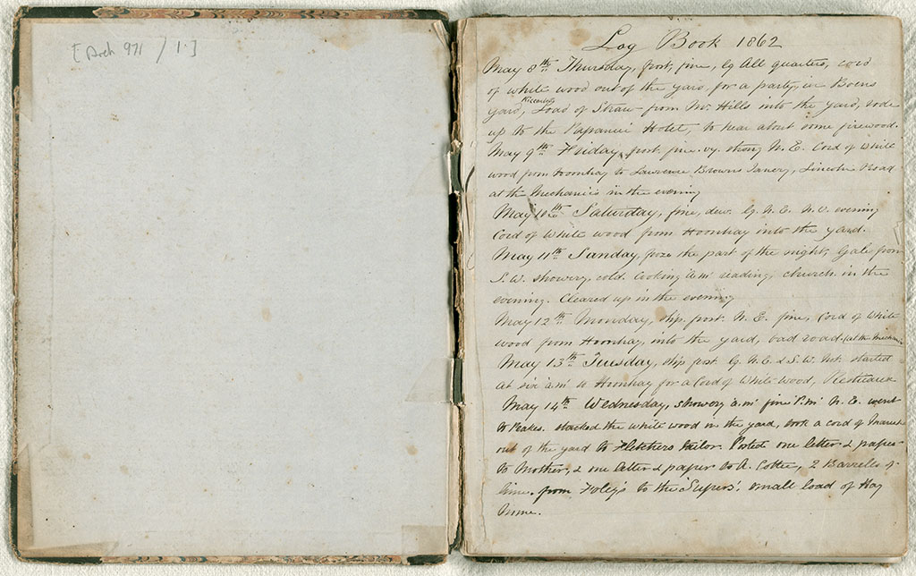 Diary, May 1862 to May 1864, Joseph Munnings. ANZC Archives. CCL-Arch971-01-002