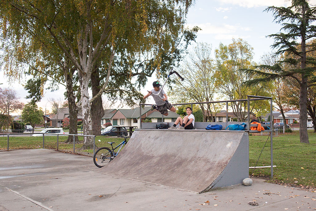Thumbnail Image of Teenagers playing at the Bishopdale skate park