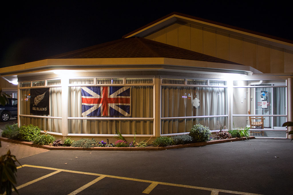 Thumbnail Image of Exterior of Bethesda Rest Home & Hospital showing their support for both the All Blacks & Lions