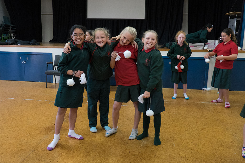 Image of The senior kapa haka group practising at Oaklands Primary School. 29-05-15 11.02 a.m.