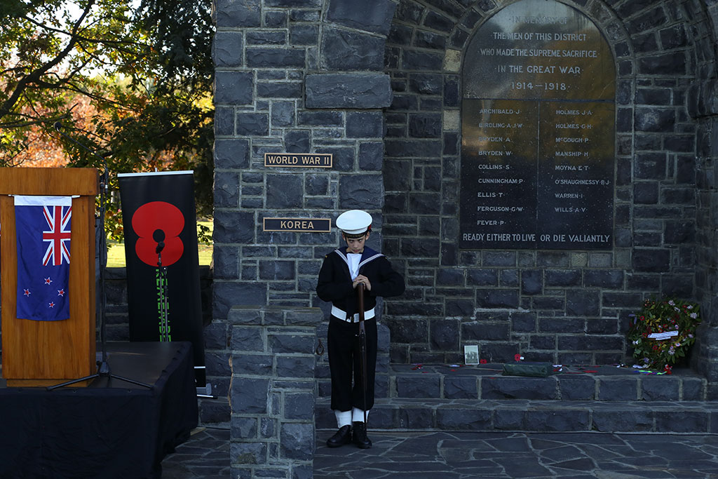 Thumbnail Image of Cadet at Halswell war memorial, ANZAC Day memorial service
